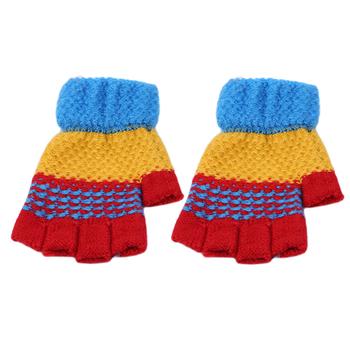 Jesień zima dzieci dzianiny rękawiczki chłopcy dziewczęta taśmy ciepłe pół palca rękawiczki rękawiczki robione na drutach zimowe rękawiczki rękawiczki bez palców guante tanie i dobre opinie Z wełny Unisex Moda Nadgarstek Paski ME945386
