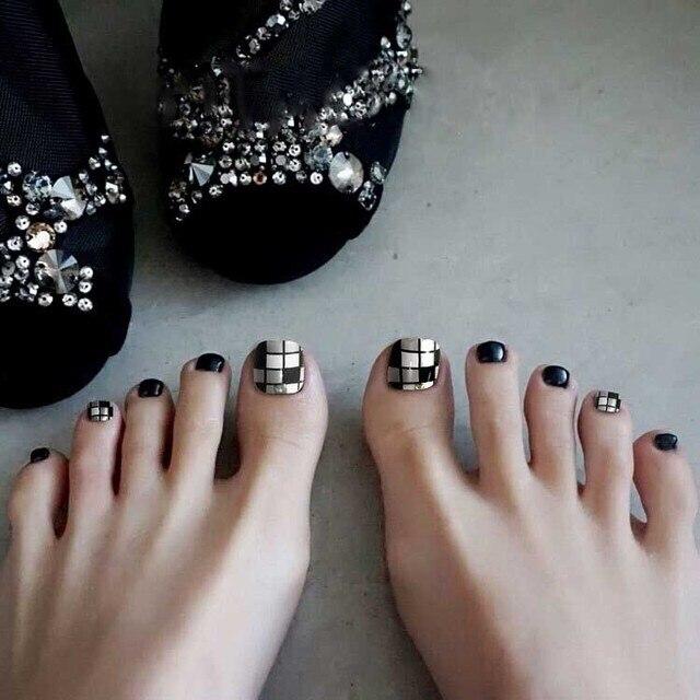 False Toe Nail Tips Acrylic Decor Fake Oval Toe Art Nails Cowboy
