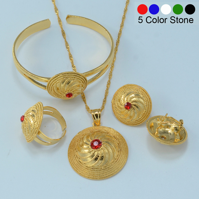 NEW Ethiopian Gold set Jewelry Pendant Necklace Bangle Earrings Ring Gold Plated Habesha African Wedding Bride Eritrea #056006