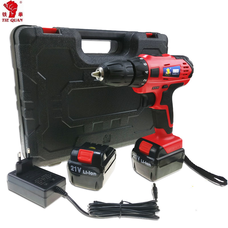 bb913b85572 21V power tools electric Drill Electric Cordless Drill 2 Batteries  Screwdriver Mini Drill electric drilling Plastic box Eu plug