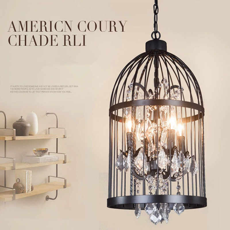 Iron personality bird cage bedroom living room restaurant chandeliers retro creative crystal bird cage chandelier AC110V, AC220V