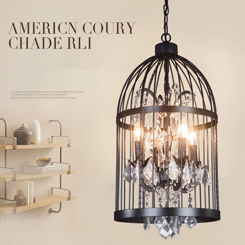 Iron personality bird cage bedroom living room restaurant iron personality bird cage bedroom living room restaurant chandeliers retro creative crystal bird cage chandelier ac110v ac220v in pendant lights from aloadofball Choice Image
