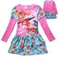 Novo 2017 Primavera Meninas Vestidos Manga Comprida 4-7Y Crianças Vestido Bebê Meninas Moda Roupas de Impressão Vestido Crianças Trajes Do Cão de Patrulha