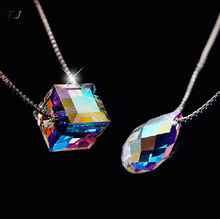 Candy Color Stars Water Drop Women Jewelry Necklace & Pendants Sterling Silver Austrian Crystal Pendant Certificate T.J. NWP003