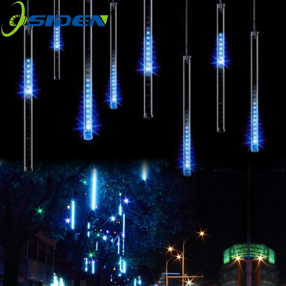 garland electric meteor shower - LED Meteor Shower Rain Lights 20CM 30CM 50cm 8Tube/set LED Christmas Wedding Garden Decoration String Light 110V/220V