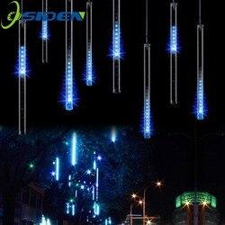 Luzes de chuva de meteoros led 20 cm 30 cm 50cm 8 tubo/conjunto led natal casamento jardim decoração corda luz 110 v/220 v