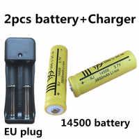 DING LISHIJIA 2 pièces 14500 Rechargeable Batterie 3.7 V Li-ion AA lampe de poche souris Batteries + UE Plug Ajustable Double Batterie chargeur