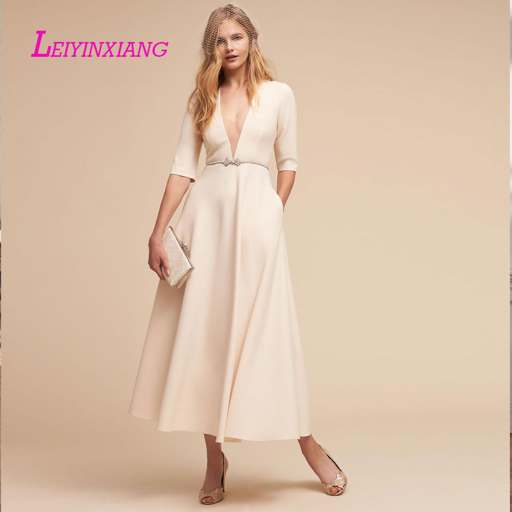 Celebrity-inspired Dresses Selfless Leiyinxiang New Arrival Evening Dress Sexy A-line Vestido De Festa V-neck Half Custom Made Sashes Microfiber Acetate Popular Removing Obstruction