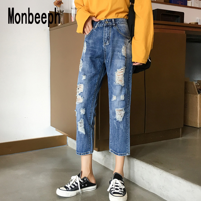 Monbeeph Denim Jeans Leg-Pants Spring-Trousers Ripped Blue Straight Casual Summer Women