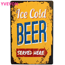 Ice Cold Beer Metal Tin Sign Retro Wine Decor Plaque Alcohol Beverage Home Kitchen Music Party Wall Art 20x30cm