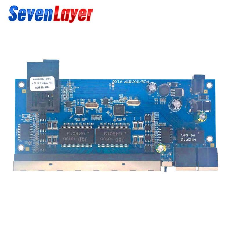 Fast Ethernet Switch Converter 10 RJ45 1 SC POE 10/100M  Ethernet Fiber Optical Media Converter Single Mode Fiber Port PCBA