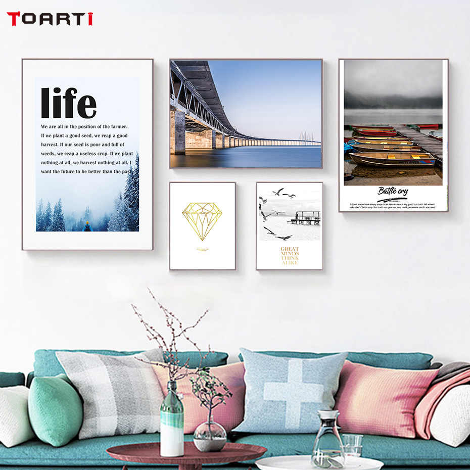 Nordic Landscape Print And Poster Life Motivational Quote Canvas Painting Bright Diamond Wall Art Pictures For Living Home Decor