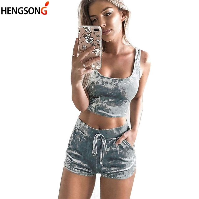 0248252cdae09 2018 Fashion Summer Women Sets Cropped Tank Tops Shorts 2 Pieces Sets  Fitness Outfits Tops Shorts Women s Tracksuit Suit
