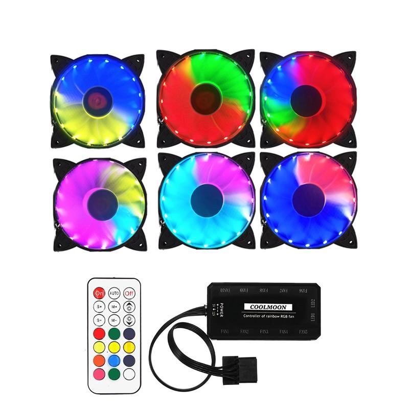 HOT-COOLMOON coque d'ordinateur PC ventilateur de refroidissement RGB ajuster LED 120mm silencieux + télécommande IR pour cpu (6 pièces)