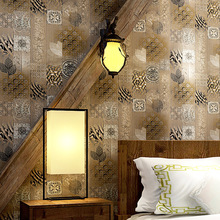 3D bump unique Antique wood grain wallpaper study bedroom living room background American classic Chinese style PVC wallpaper цены