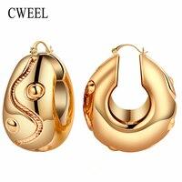 CWEEL Kobiety Big Hoop Kolczyki dla Nowożeńców Ślubne Klasyczne Trendy Mody Dorywczo Czeski Złoty Kolor Rocznika Arab Nigeryjczyk Biżuteria