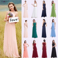 Ever Pretty Bridesmaid Dresses 08742 Pink Peach Women Elegant Beading Chiffon Sleeveless Lace Plus Size Long Bridesmaid Dresses