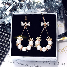 DREJEW Butterfly Flower Pearl Rhinestone Statement Earrings 2019 Summer 925 Alloy Drop Earrings for Women Wedding Jewelry HE634 a suit of graceful rhinestone butterfly earrings for women