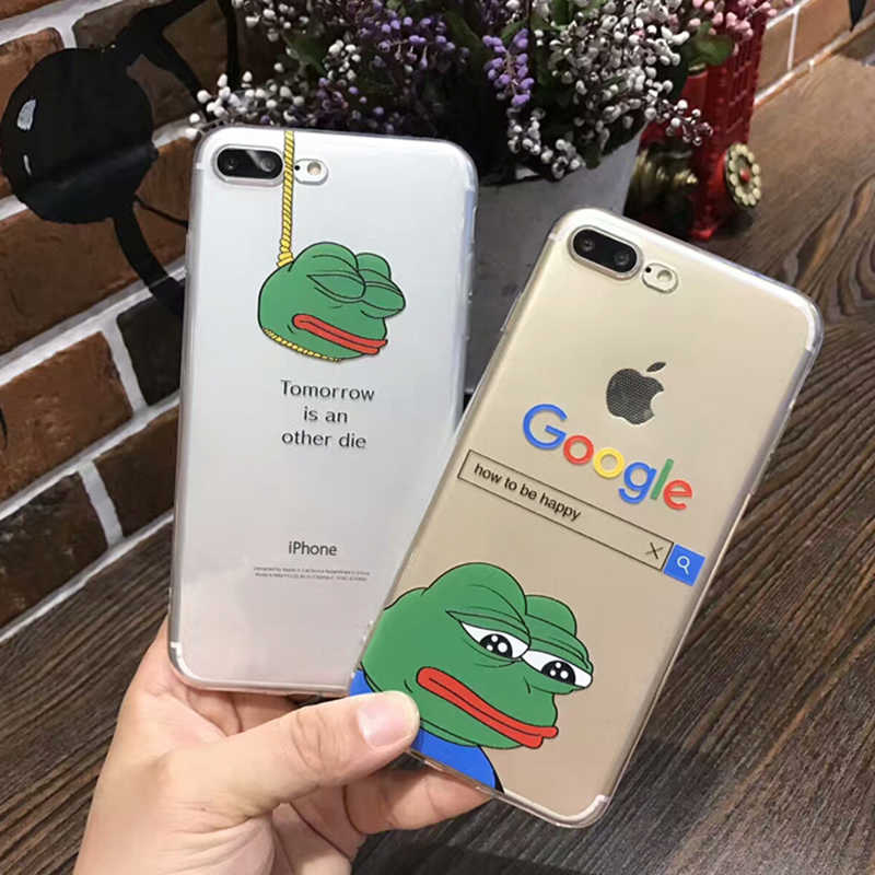 Ultra Dünne Fall Für iphone 8 7 6 6S Plus Cartoon Soft Clear TPU Coole Lustige Frosch Muster Für iphone X 11 Pro XS Max XR Fall Abdeckung