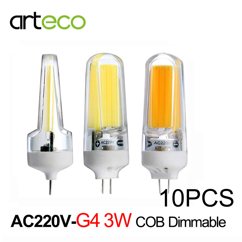 10pcs AC220V Mini G4 LED Bulb 3W COB Dimmable LED Lamp 300LM LED Spotlight Replace Halogen Lamp Chandelier Crystal Light