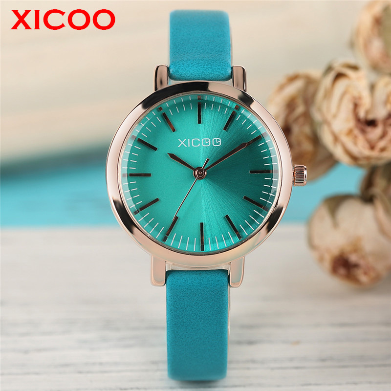 XICOO Fashion Women Watch Aquamarine Dial Rose Golden Case Refined Business Female Brand Wristwatch All-match Casual Lady Clock