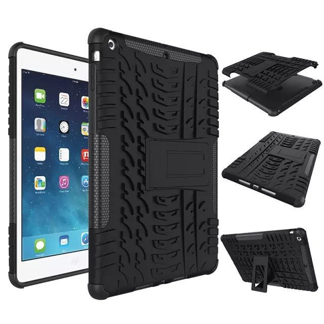 For iPad Air 1 for iPad 5 9.7  Shockproof Case Heavy duty Hybrid Armor Impact Robot Cover 2 In 1 Dual Rugged Hard Kit StandCase 3 in 1 hybrid heavy duty shockproof dual layer military armor back cover case for apple ipad mini 4 case cover tablet case gifts