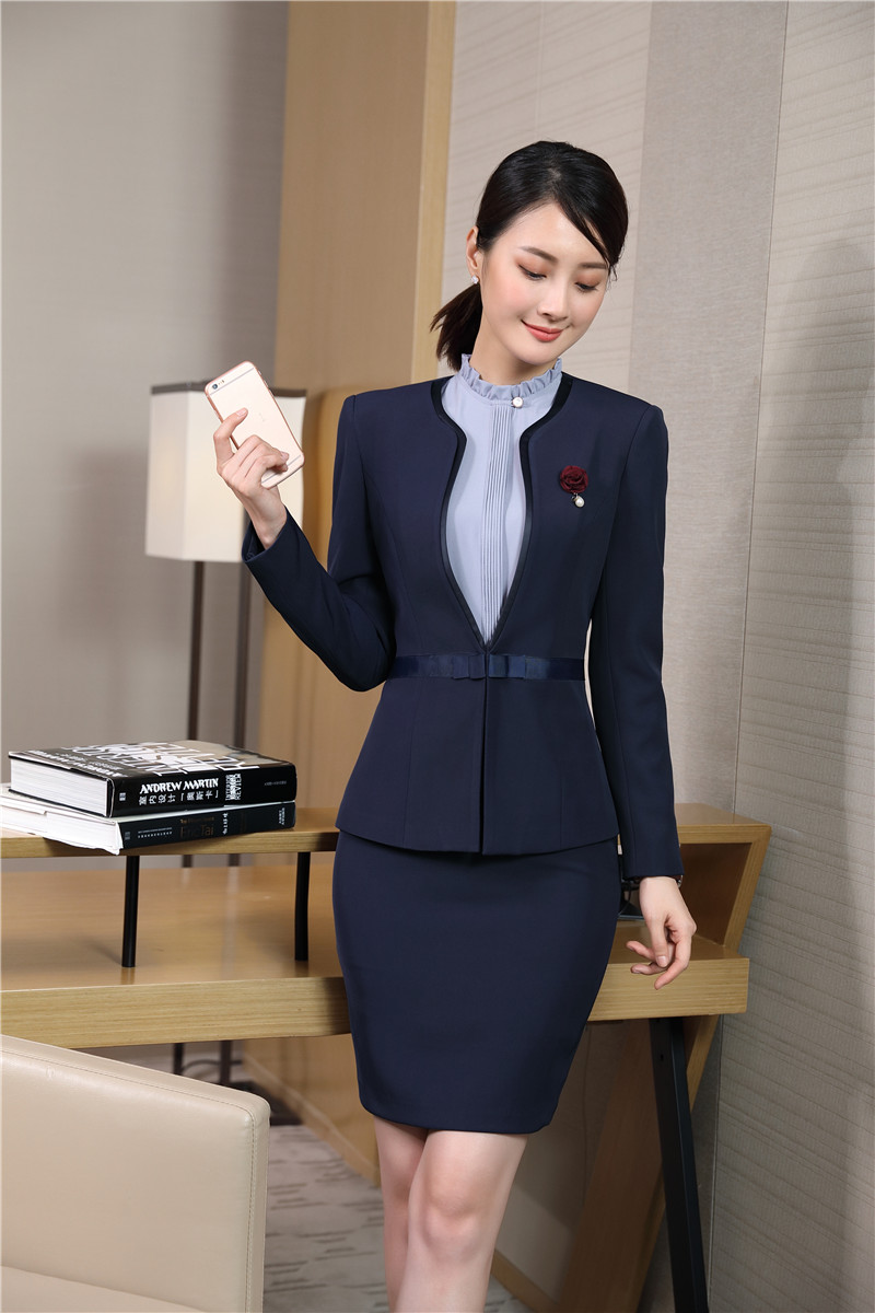 Pant Suits Suits & Sets Formal Black Blazer Women Pant Suits Office Ladies Business Work Wear Set Navy Blue Office Uniforms Ol Styles