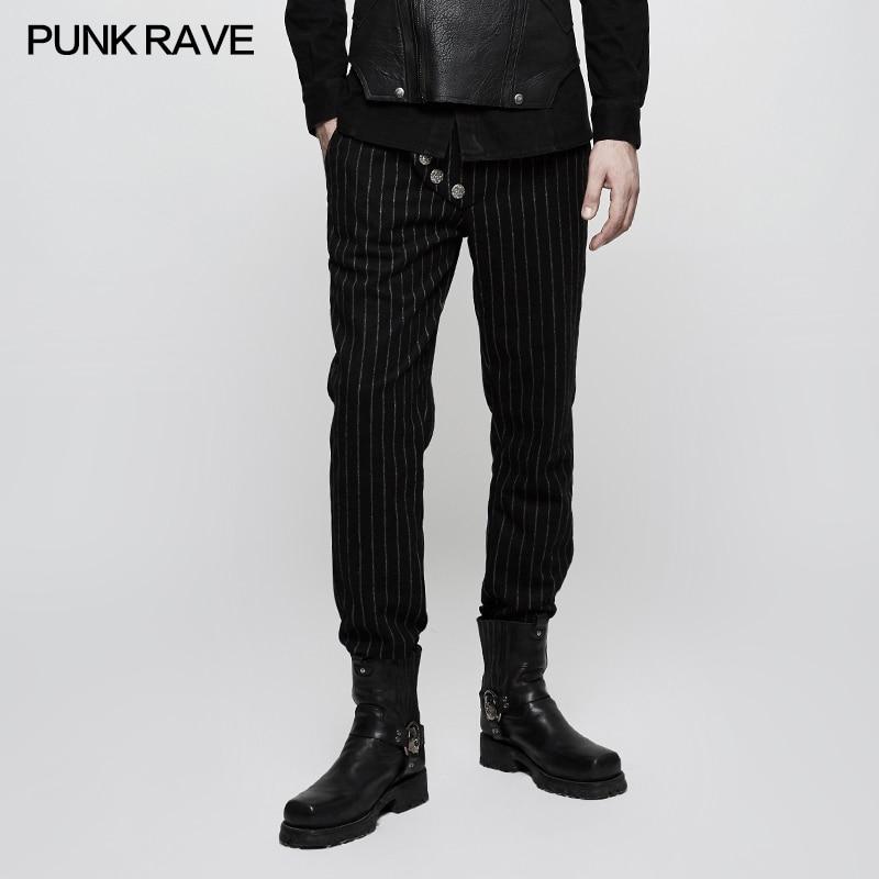Pantalones Vaquero Casual Decoración De Punk Rayas Uniforme Hombres Gótico Los Botón Palacio K303 Militar Rave qwSxCP