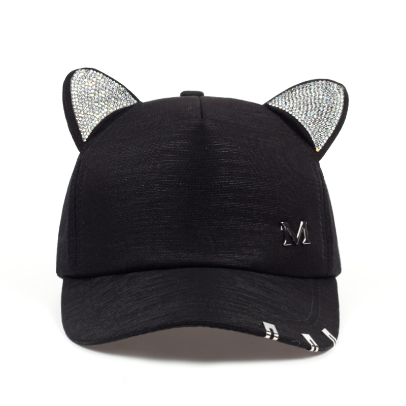2019 New Meow Women's Summer Fall Black White Pink Hat Cat Ears Cat Baseball Cap With Rings And Lace Cute Girl Hat