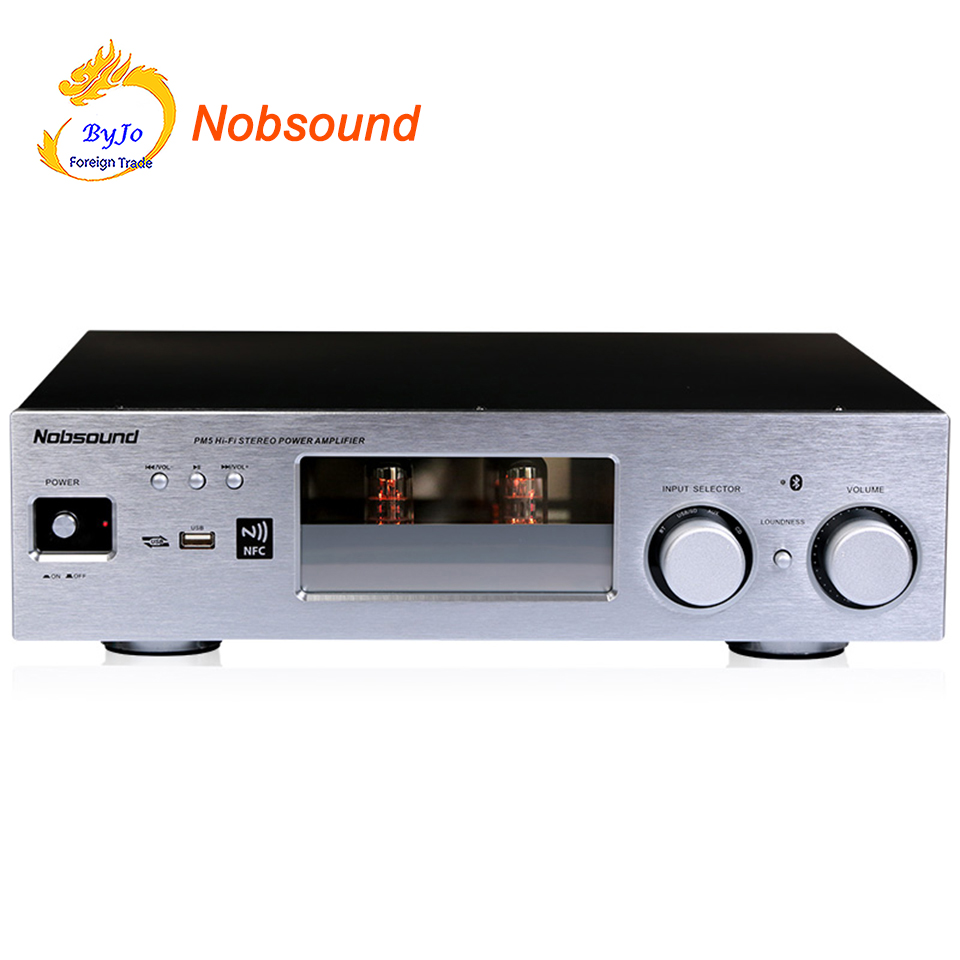 Nobsound PM5 Hi-Fi Stereo Power Amplifier NFC Wireless Bluetooth Amplifier Support USB CD DVD 80W + 80W Power Silver new nobsound pm5 tube amplifier with bluetooth nfc usb flac lossless music player hifi stereo amp audio amplifier 80w 80w