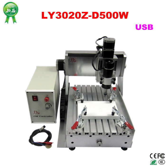 LY CNC ROUTER 3020Z-D500W USB 3axis MINI usb port CNC cutting machine tax free EU  cnc router 3020z d 300w spindle 3 or 4axis cnc cutting machine