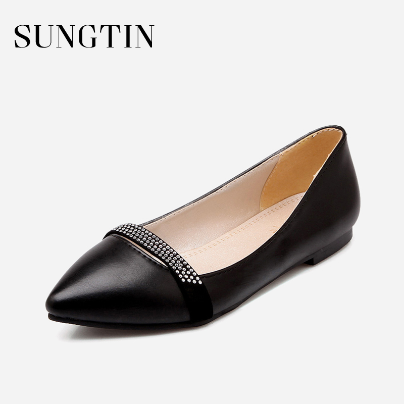 Sungtin Summer New Casual Pointed Toe Women Flats Ladies Fashion Crystal Solid Black Plus Size Flat Shoes Woman Slip-on Flats odetina 2017 new women pointed metal toe loafers women ballerina flats black ladies slip on flats plus size spring casual shoes