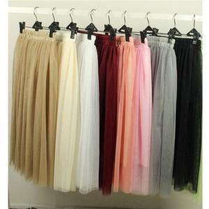 Women Tulle Skirts Spring Summer Autumn High Waist Long Skirt Tulle Ladies Princess Bohemian Skirts jupe femme