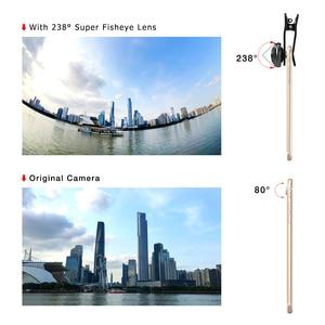 Image 4 - Универсальные телефонные линзы Apexel, супер 238 градусов, линзы «рыбий глаз», 0.2X полноразмерные широкоугольные линзы для iPhone 7 8 x plus xiaomi samsung