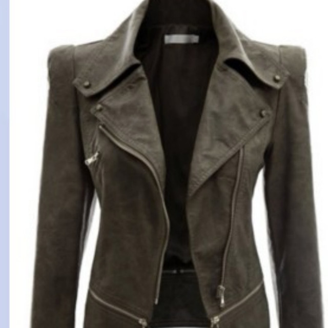 2018 Autumn Women faux Leather Jacket Gothic Black moto jacket Zippers Long sleeve Goth Female PU Faux Leather Jackets 4