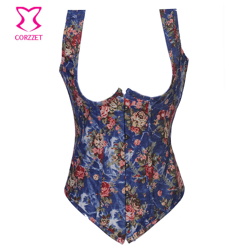 Floral Fantasy Burlesque Underbust Denim   Corset   Full Back Tank   Bustier   &   Corset   Sexy Waist Slimming   Corsets   Corpete Corselet