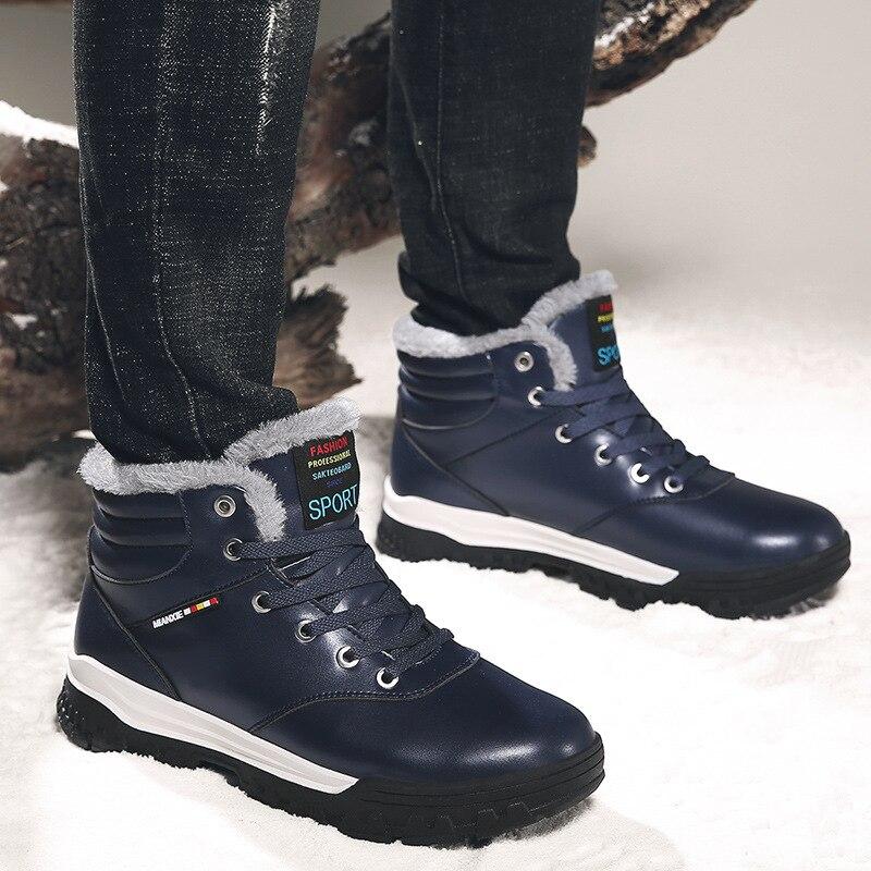 Anti Botas Hombres Alto Impermeables De Casual Nieve Los Algodón 2018 La Nuevo Cuero Invierno deslizamiento Moda Para Negro Top azul Zapatos qzxwv