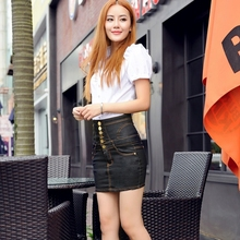 2017Summer New Pattern European style empire Waist Short skirt Woman single-breasted slim attractively thin over Hip Skirt 2181