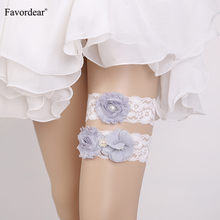 Favordear White Lace Three Flowers Wedding Garter 2 PC Elastic Band Pearls Fashion Stocking Bridal Belt Garter for Bride/women(China)