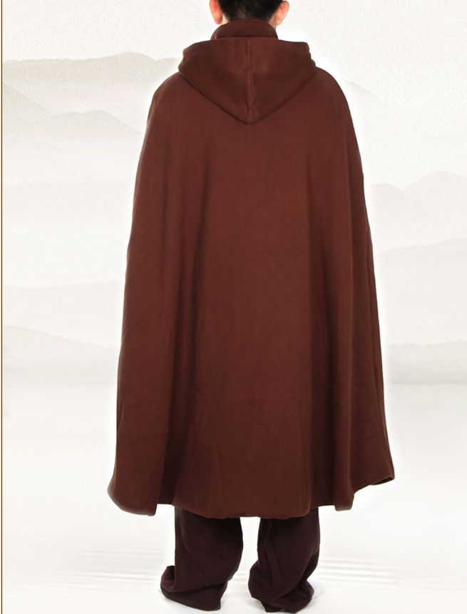 US $142 37 11% OFF|WARM meditation cloak velvet Buddhist religious Buddhism  mantle Capes monks robes coat winter martial arts clothes brown-in