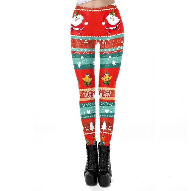 2018 Christmas Santa Claus 3D Printed Slim Fitness Leggings Women Leggins High Waist Push Up Legging Autumn Winter Leggins Mujer