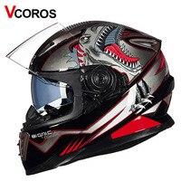 Vcoros Brand Winter Full Face Motorcycle Helmet Anti Fog Lens Double Shiled Sun Visor Glass Full
