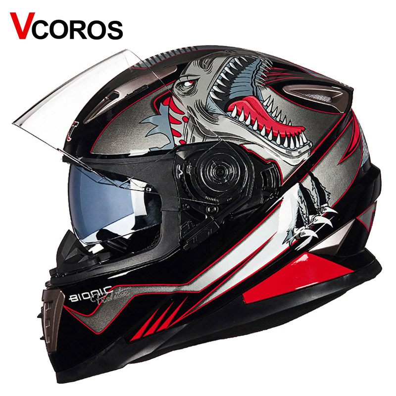 Vcoros Brand Winter Full face Motorcycle helmet Anti-fog lens Double shiled Sun visor glass Full face motorbike Racing helmets 2017 new knight protection gxt flip up motorcycle helmet g902 undrape face motorbike helmets made of abs and anti fogging lens