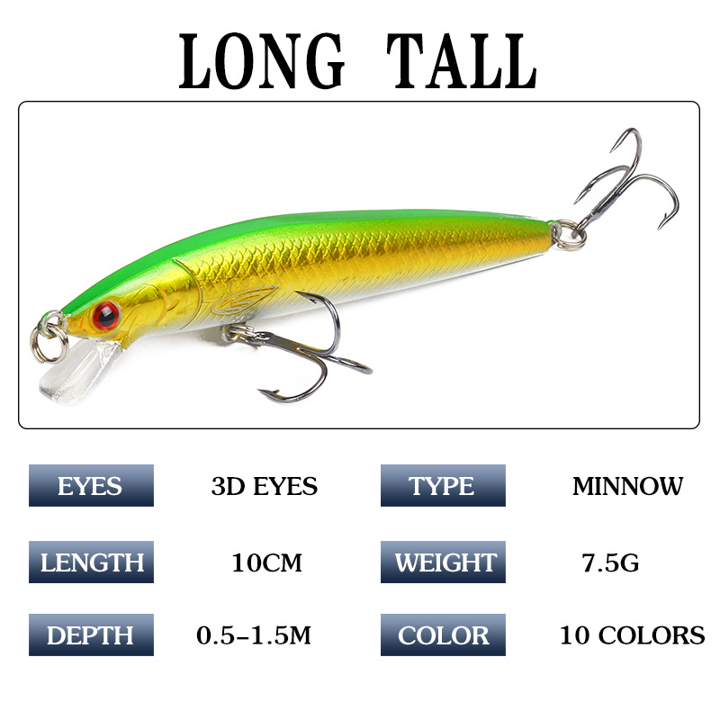 10Pcs lot 10cm 7 5g Hard Aritificial Wobblers Minnow Fishing Bait Lure Floating Pesca Bait Fish Lures For Ocean Rilver in Fishing Lures from Sports Entertainment