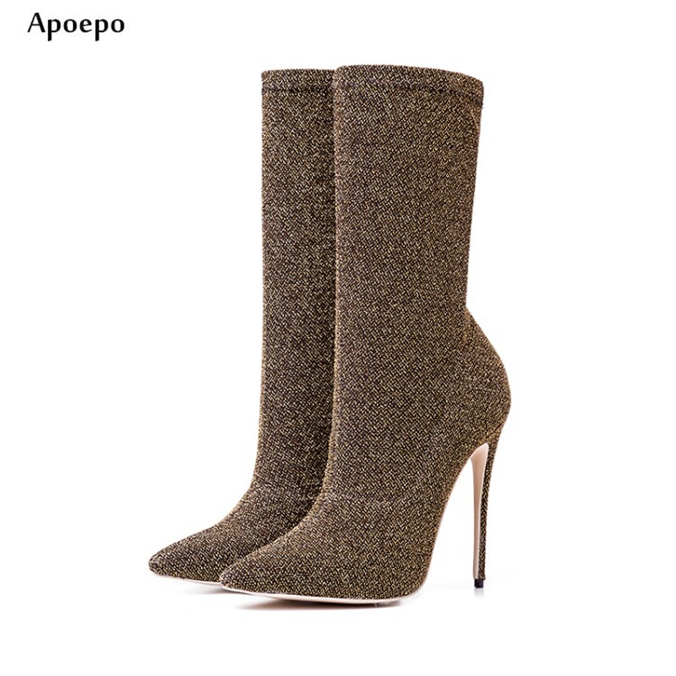 Apoepo Newest ankle boots woman 12cm pointed toe bling bling glitter embellished higih heel boots stretch fabric thin heels boot denim blue thin heels boots new fashion bling bling crystal embellished high heel boots sexy pointed toe lace up ankle boots