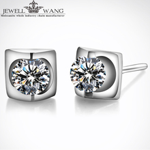 Jewellwang Moissanite Stud Earrings Women 18K Real White Gold Hot Sale Anniversary One Piece 0.10ct Brilliant Gifts Fine Earring