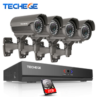 Techege 2MP CCTV System 4CH POE NVR 1080P 2 8 12mm Manual Lens 3000TVL 1080P POE