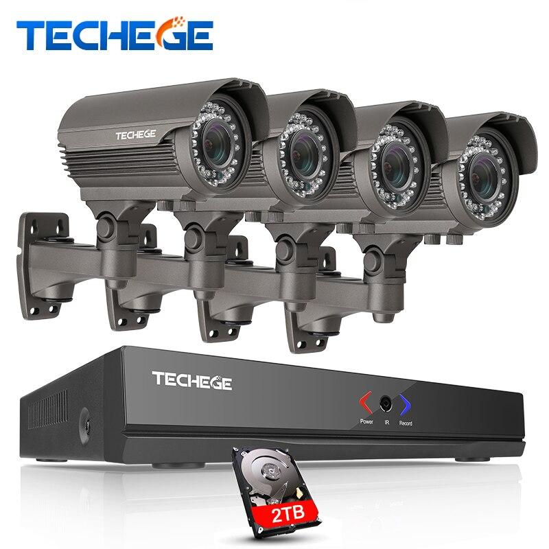 Techege 2MP CCTV Système 4CH POE NVR 1080 P 2.8-12mm manuel Lentille 3000TVL 1080 P POE IP caméra Étanche de Sécurité de Surveillance Kits