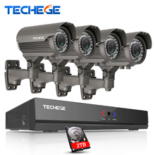 Techege 2MP CCTV System 4CH POE NVR 1080P 2.8-12mm manual Lens 3000TVL 1080P POE IP Camera Waterproof Security Surveillance Kits