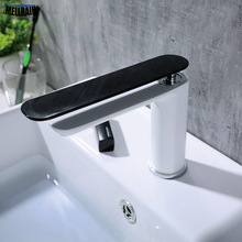 Soild Brass Black & White Basin Faucet Simple Bathroom Single Hole Deck Mounted Long Handle Water Tap Hot And Cold Water Mixer new arrival bathroom white faucet deck mounted cold and hot water tap soild brass white painted sink faucets mixer